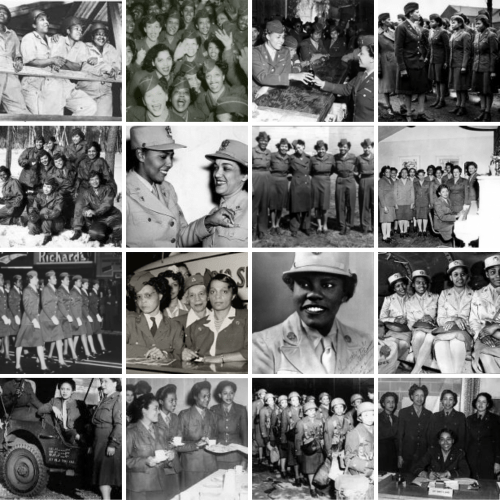 The 6888th Central Postal Director Battalion a collage picture of women who represented this battalion.
